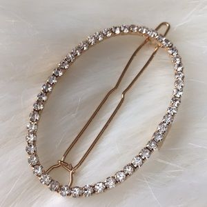Oval Rhinestone Hair Clip with Gold Accents